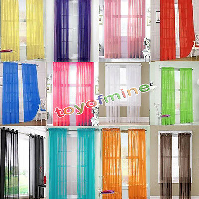 2 X Valances Tulle Voile Door Window Curtain Drape Panel Sheer Scarf Divider