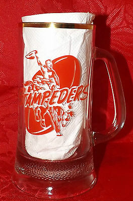 CALGARY STAMPEDERS Vintage GLASS BEER STEIN or MUG ca.1970's Sports CFL FOOTBALL
