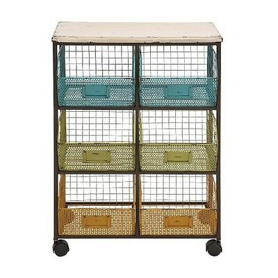 Deco 79 34957 Metal Wood Basket Cart 24 by 34-Inch NEW