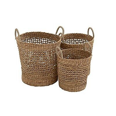 Deco 79 48974 Seagrass Basket 21 by 18 by 16-Inch Set of 3 NEW