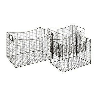"Deco 79 66578 Metal Wire Basket (Set of 3) 17""/16""/15"" NEW"