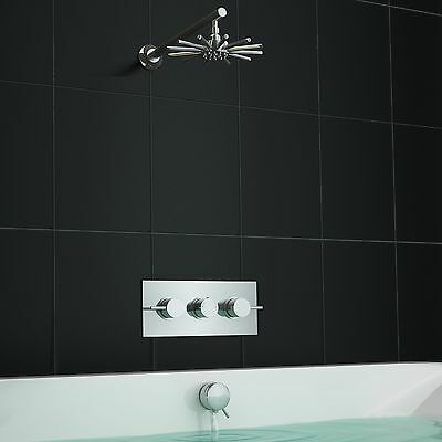 Concealed Round Thermostatic Bath Overflow Filler Shower Mixer Tap Set