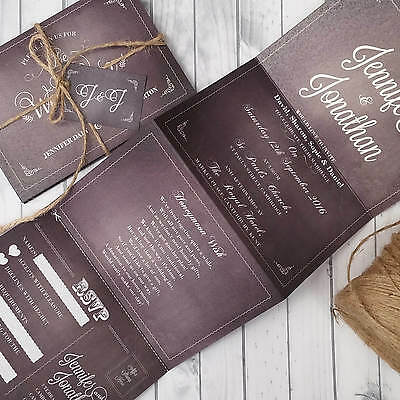Personalised Wedding Invitations & Evening Invites with Kraft Envelopes Handmade