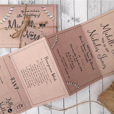 Personalised Wedding Invitations & Evening Invites - Kraft Bunting Handmade