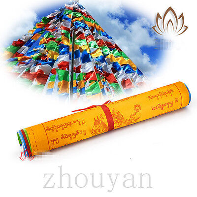 22 Feet Long 10 Sutras Tibetan Lama Blessed 20 Pcs Wind Horse Prayer Flag - Big
