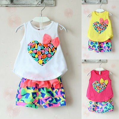 2Pcs Toddler Kids Baby Girls Sleeveless T-shirt Tops+Pants Outfits Clothes Sets