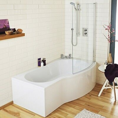 Right Hand P Shaped Round Shower Bath 1700mm Glass Shower Screen + Front Panel