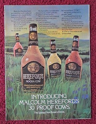 1976 Print Ad Hereford's Mocha Cow 30 Proof Liquor ~ Bottles in the Pasture