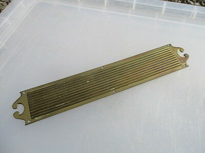 Victorian Brass Finger Plate Push Door Handle Architectural Antique Old Ribbed