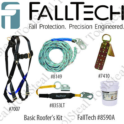 FallTech 8590A Roofers Kit, Complete Fall Protection, Lifeline, Harness, Anchor