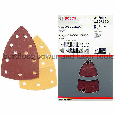 25 Bosch Sanding Sheets Mixed PSM 200 AES 102x 62 x 93 mm WOOD+PAINT 2608607417