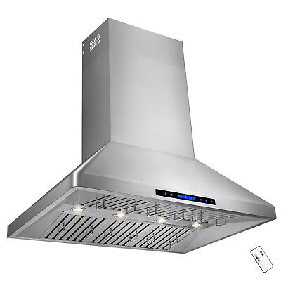 """48"""" Stainless Steel Touch Screen Kitchen Vents Dual Motor Wall Mount Range Hood"""
