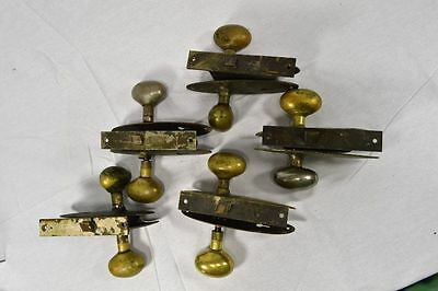Antique Solid Brass Egg Doorknobs,backplates, And Mortise Lot Of 5 Pair