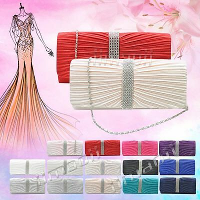 Ladies Satin Diamante Ruffle Party Prom Bridal Evening Clutch Bag Shoulder Bag