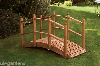 Wooden Garden Bridge Ornament Decorative Feature Teak Stained For Ponds Streams