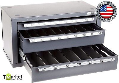 """Heavy Duty Steel 3-Drawer Cabinet Drill Bit Storage Tools 1/16"""" to 1/2"""" in 1/64"""""""