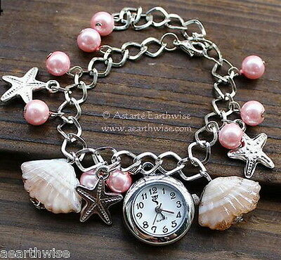 WOMEN'S ELEGANT PINK BEACH WATCH Wicca Witch Pagan Goth SHELLS PEARLS STARFISH