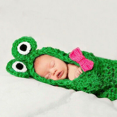 Lovely Newborn Handmade Crochet Knitted Baby's Frog Sleeping Bag Photo Prop 0-6M