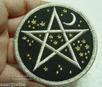 STARRY STARRY NIGHT PENTAGRAM IRON ON PATCH Wicca Witch Pagan Goth