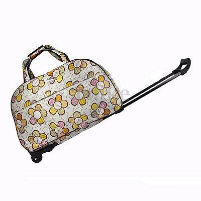 Unisex Tote Polka Print Trolley Wheel Luggage Travel Suitcase Holdall Carry Bag