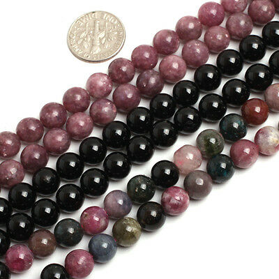 "Natural Tourmaline Gemstone Round Beads For Jewelry Making 15"" Assorted Colors"