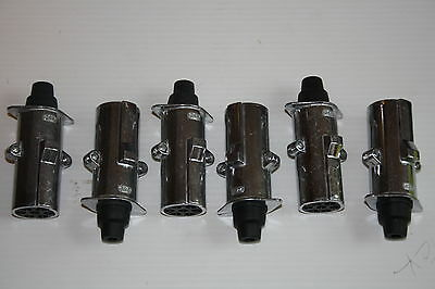 Pack Of Six 7 Pin Metal Towing Plug Self Wire 24V Trailer Lorry Lighting 180220