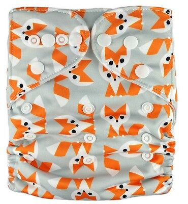 Modern Cloth Reusable Washable Baby Nappy Diaper & Insert, Foxy