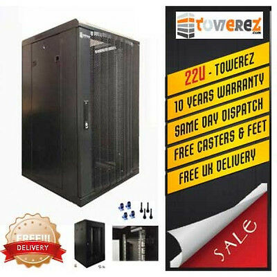 Server Rack 22U FLAT PACK  - 600x800 deep Perforated Door flat pack