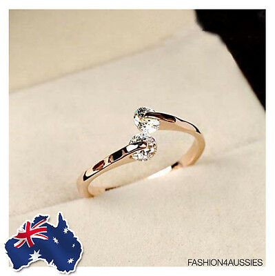 Adjustable Womens Jewellery 18K Rose Gold Plated Crystal Engagement Wedding Ring