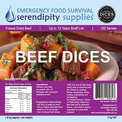 SERENDIPITY SUPPLIES Freeze Dried BEEF DICES 100 Serve 12 Year Shelf Life
