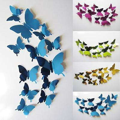 New 3D Mirror Wall Stickers Decal Removable Bedroom Art Home Decor Butterflies