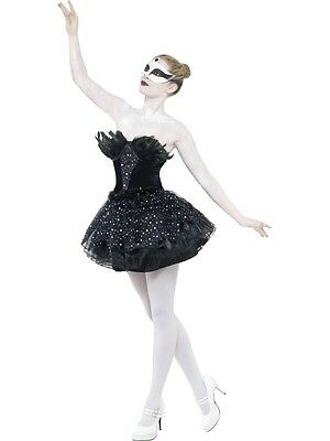Adult Sexy Gothic Black Swan Ladies Halloween Party Fancy Dress Costume Outfit