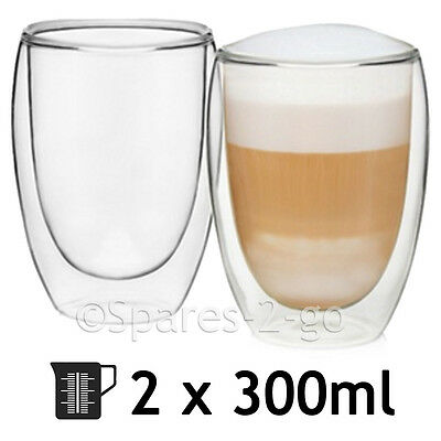 Double Walled Thermal Coffee Glass Tumbler Latte Cappuccino Cup Glasses 300ml x2