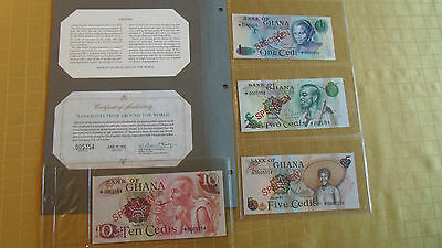 Ghana Complete 4 Specimen Set 1976 0005354 Cs1 P 13 -16 Gem Unc Low Serial