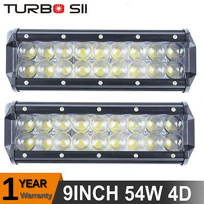 2X 54W 10inch Pods LED Light Bar 4D Spot Driving Lamp Offroad Jeep Truck ATV 4X4