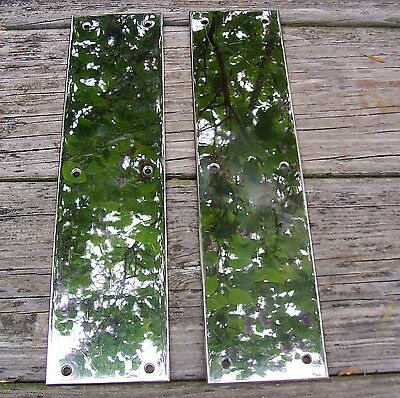 "Pair of 12"" by 3"" Vintage Chrome Plated Door Push Cover Plates"