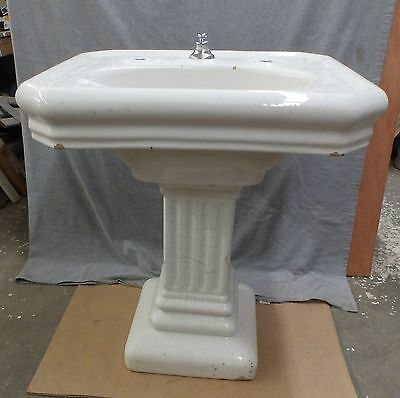 Antique Fords Earthenware Pedistal Sink White Porcelain Old Vtg Plumbing 594-16