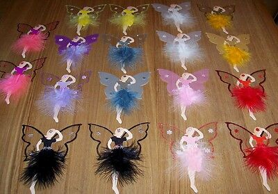 18 Mixed Glitter And Marabou Feather Fairy Craft Toppers