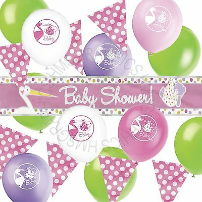 Baby Shower Girls Decorations,Bunting,Banner Helium Balloons Party Supplies Pack