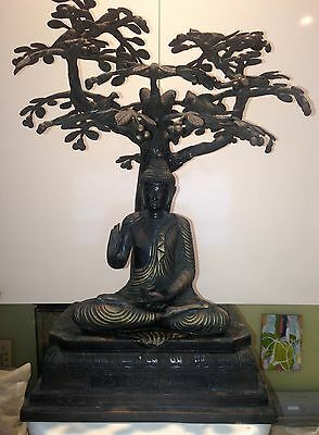 Rare Bronze Buddha Statue Under Bohdi Tree – Meditation Enlightenment