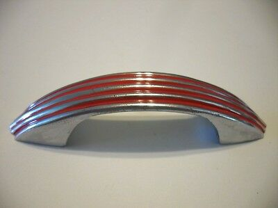 Vintage CHROME Drawer Pulls Cabinet Handle w RED Lines Ribbed Face National Lock
