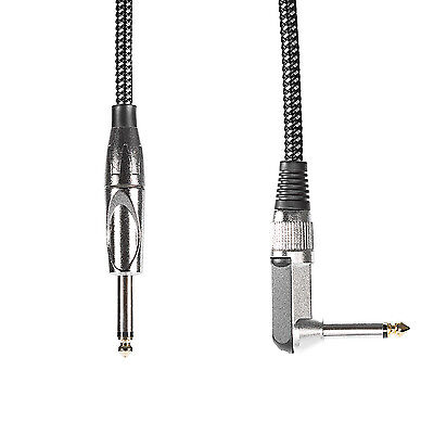 """10ft/3M Guitar Instrument Cable with 1/4"""" Straight to Right Angle Plug"""