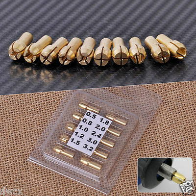 10Pcs Brass Chuck Collet Drill Bit 0.5-3.2mm Set Fit for Nut Fit for Rotary Tool