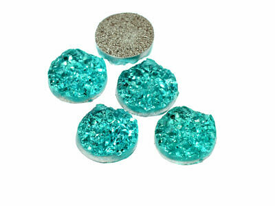 4 Cabochons in aquamarin, 12 mm, Eiskristalle, Resincabochons, Resin, Druzystyle