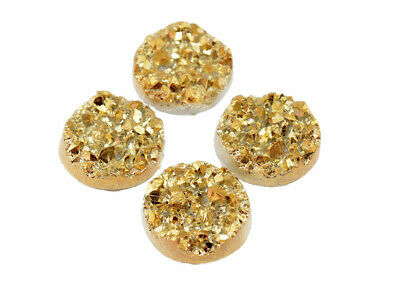 4 Cabochons in gold, 12 mm, Eiskristalle, Resincabochons, Resin, Druzystyle