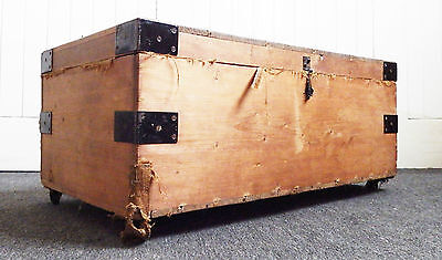 Antique rustic pine chest blanket box chest - ottoman - toy box - coffee table