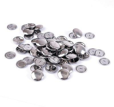 100 Hemline Non Sew Self Cover Metal Top Buttons Fabric Garments Sewing 11 mm