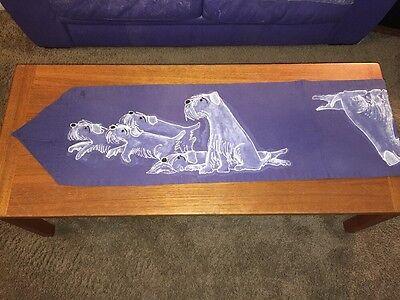 Vintage OOAK-SEALYHAM Terrier Dog Table Runner- Handpainted Canvas