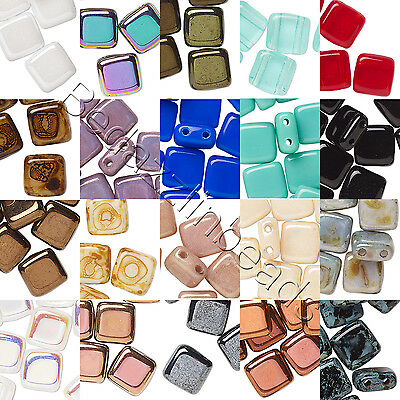 Lot of 10 Czech Glass 6mm Flat Square Tile Loose Beads With 2 Double Twin Holes