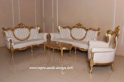 barock sofa antik sofagarnitur mahagoni massivholz blattgold wei gold couch eur. Black Bedroom Furniture Sets. Home Design Ideas